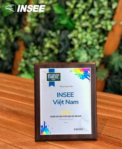 """INSEE Việt Nam được vinh danh  """"Top 50 Thương hiệu Nhà tuyển dụng hấp dẫn nhất với sinh viên Việt Nam năm 2020"""""""